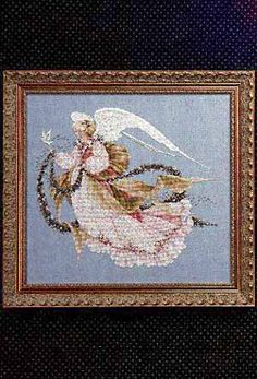 Lavender and Lace Angel of Summer - Cross Stitch Pattern. Stitched on 32 count Twilight Blue Linen with DMC floss and Mill Hill Beads (00275, 00557, 02019, 0303
