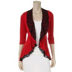 This is a hacci cardigan with lace ruffles and...$38.95 tax included. I love this! Comes in lots of colors, too.