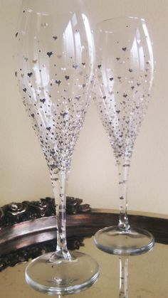 Set of 2 hand painted champagne glasses by PaintedGlassBiliana, $39.00