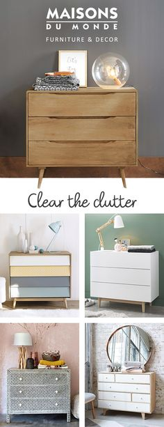 Tidy up in style with our chests of drawers. Providing space to both hide the clutter away and display your treasures, our chests of drawers are available in a range of styles from modern to vintage, industrial to exotic. | Maisons du Monde