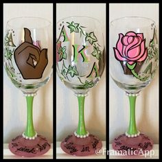 AKA hand-painted wine glass