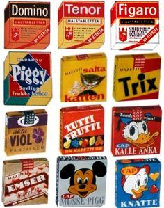 Swedish sweets 60s | Marabou, Cloetta, dajm, dixi, rio, japp, crispi, domino, figaro, pigall