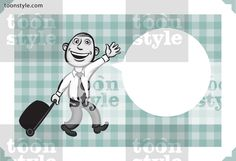 Greeting card with businessman going to vacation – personalize your card with a custom text