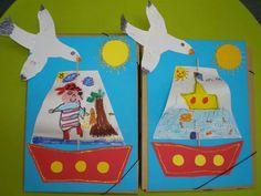 Summer craft. Design sail, poke through kabob skewer, glue to blue background, add bottom of boat