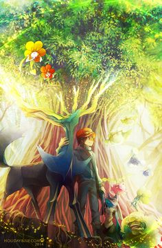 Pokemon XY art, Xerneas, Floette, Cottonee, Jumpluff, Hoppip, Lucario, Whimsicott, anime art
