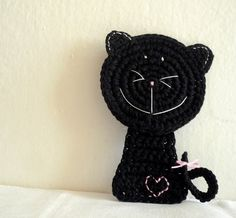 Black Crochet Cat Coaster  di Mrozkova Monika su DaWanda.com