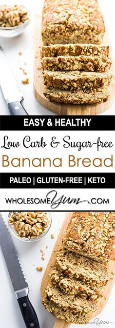 Low Carb Banana Bread (Paleo, Gluten-free, Sugar-free) - This low carb banana bread recipe with almond flour & coconut flour is perfectly moist & rich. Naturally paleo, gluten-free, sugar-free, and healthy.