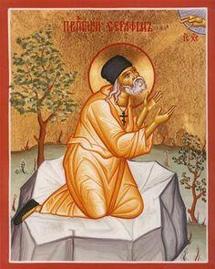 Seraphin, Russian Icons, Orthodox Icons, Saints, Religion, Heaven, Windows, Girls, Painting
