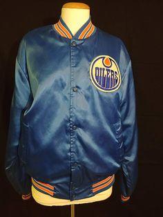 3ebdb023b07 Vintage Edmonton Oilers Satin Varsity Jacket  Retro NHL Oilers Edmonton  Oilers