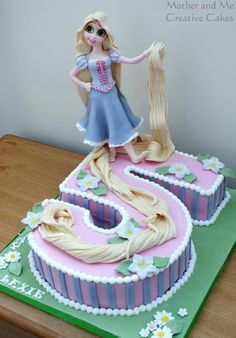 Rapunzel Number Cake - Cake by Mother and Me Creative Cakes