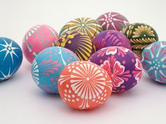 Beautiful hand painted easter eggs from Poland. (There is a wax egg tutorial video on the blog.)