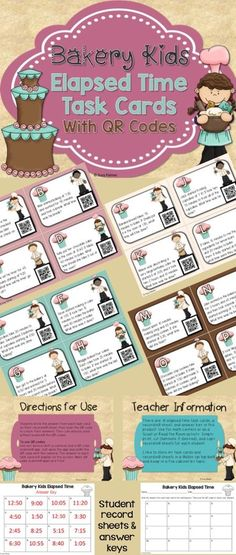 ***FREEBIE***Give your students a fun way to practice calculating elapsed time with these elapsed time word problem task cards. These fun task cards feature QR codes that students can scan to check their answers. Set up these addition and subtraction task cards as an engaging math center or station, or post them around the room to get kids moving during math time. 3.MD.A.1 elapsed time, word problems, task cards, free, math centers, QR codes, 3rd grade math, math stations