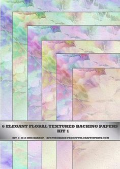 Elegant Floral Textured Backing Papers Kit 1 on Craftsuprint designed by June Harrop - This kit contains 6 beautiful subtle coloured floral papers that will enhance any card project. - Now available for download!