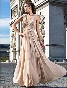Sheath/Column V-neck Floor-length Chiffon Evening Dress With Beading And Ruching – USD $ 139.99