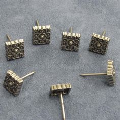 decorative tacks upholstery tacks Large decorative clavos nails brass and copper nails ornate brass nails furniture nails Qty 5