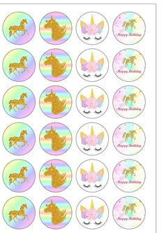 24 Precut Circle Gorgeous Gold effect Unicorn Pastel Rainbow Edible Wafer Paper Cake Cupcake Toppers Diy Unicorn Birthday Party, Unicorn Birthday Decorations, Birthday Party Tables, Happy Birthday Banner Printable, Happy Birthday Art, Happy Birthday Banners, Unicorn Cupcakes Toppers, Unicorn Cake Topper, Wafer Paper