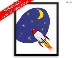Space Prints  Rocket Canvas Wall Art Space Framed Print Rocket Wall Art Canvas Space Nursery Art Rocket Nursery Print Space stars #canvas #frame