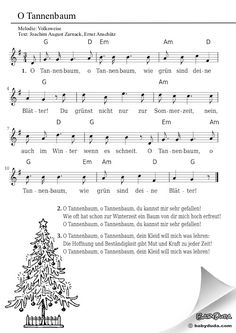 Kinderlied - O Tannenbaum, o Tannenbaum chor Guitar Chords For Songs, Ukulele Chords, Music Songs, Piano Sheet, Sheet Music, German Christmas Traditions, Kindergarten Songs, Kalimba, Mikey Way