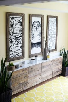 Reclaimed wood added to white doors on an IKEA storage unit.