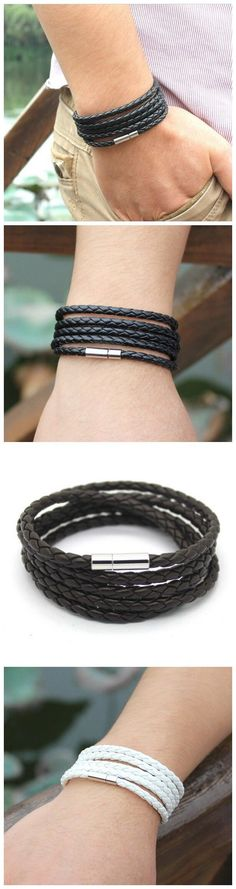 Free Shipping Leather Bracelets & Bangles Handmade Knitted Rope Turn Buckle Bracelet For Women Men Wholesale Long Rope Jewelry