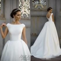 Simple Style 2016 White Wedding Dresses Jewel Neck Cap Sleeve Ball Gowns Chapel Train Milla Nova Satin Long Bridal Dress Country Online with $102.07/Piece on Hjklp88's Store