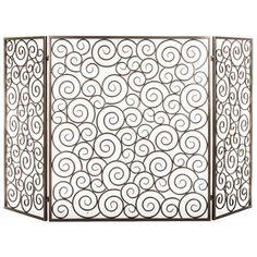 Black Iron Milano Fireplace Screen