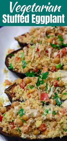 Easy stuffed eggplant recipe with tender roasted eggplant and a simple vegan Mediterranean stuffing with couscous, chickpeas, tomatoes, and fresh herbs.  #eggplant #stuffedeggplant #mediterraneanrecipes #mediterranean #vegan #veganrecipes #vegetarian #vegetarianrecipes Vegetarian Recipes Easy, Heart Healthy Recipes, Clean Eating Recipes, Veggie Recipes, Easy Mediterranean Recipes, Mediterranean Dishes, Couscous How To Cook, How To Cook Quinoa, Stuffed Eggplant Vegetarian