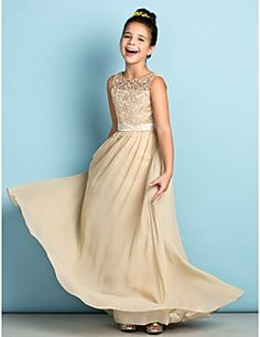 Floor-length Chiffon / Lace Junior Bridesmaid Dress - Champa... – USD $ 79.99