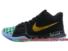 competitive price e02ac 29828 Nike Kyrie 3 ID Chaussures de BasketBall Pas Cher Pour Homme Noir Vert Or