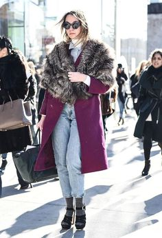 31 Winter Outfit Ideas - Your Daily #OOTD Inspiration for This Winter: Wear Glamorous Separates with Casual Jeans