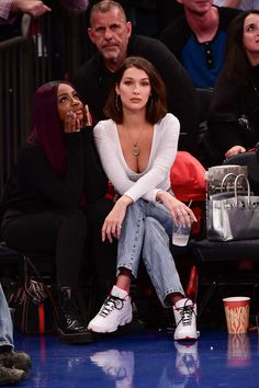 Bella Hadid Couldn't Decide on an Outfit For a Basketball Game, So She Brought Them All