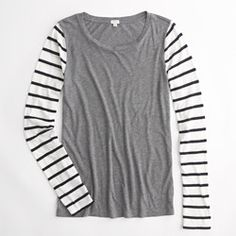 J Crew Factory stripe-sleeve tee