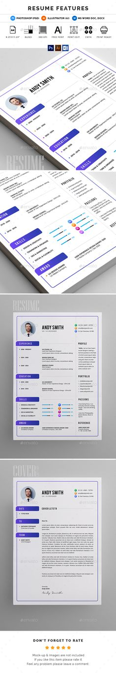 Resume CV Template In MS Word 2 Color Versions 1 Incl 2nd