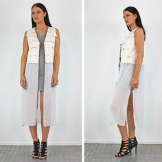PinkCad White Layered Pu Top Long Chiffon Waistcoat £23.99 www.pinkcadillac.co.uk Pink Cadillac, Duster Coat, Casual Outfits, Chiffon, Chic, Stylish, Womens Fashion, Jackets, How To Wear