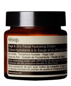 AESOP, LARGE SAGE AND ZINC FACIAL HYDRATING CREAM SPF15, £43.00. This is a daily moisturiser with micronised zinc oxide - its formulation forms a barrier to reflect sunlight and protect skin without clogging pores. #libertybeauty #aesop #facialcream