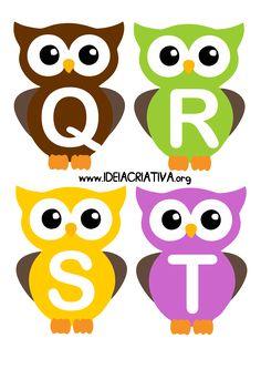 Alfabeto Letra Bastão Corujinhas Alphabet Activities, Kindergarten Activities, Preschool, Arabic Alphabet Letters, Alphabet Games, Stencils For Kids, Cute Owl Cartoon, Owl Theme Classroom, E Craft