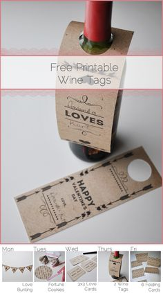 Free Printable: Valentines Day Wine Bottle Tags