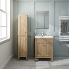 600mm Melbourne Floor Standing Oak Effect Double Door Vanity Unit  - soak.com