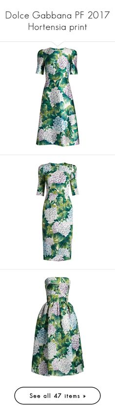 """""""Dolce Gabbana PF 2017 Hortensia print"""" by sella103 ❤ liked on Polyvore featuring dresses, green strapless dress, dolce gabbana dress, print dresses, organza dress, mixed print dress, gowns, print, floral gown and floral dresses"""