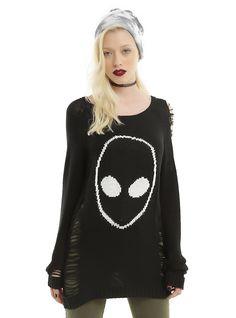 Black & White Alien Destructed Girls Sweater, BLACK