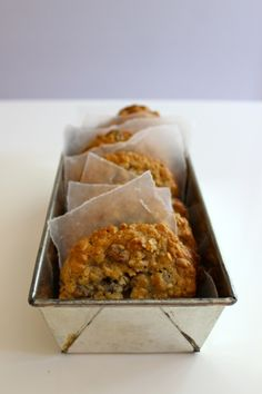 Use an old loaf tin and some wax paper to display your cookies