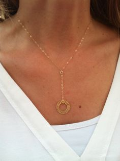 Gold Necklace  Circle Necklace Simple Circle by HLcollection, $27.00