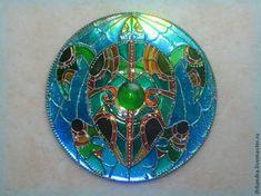 """Витражный магнит на диске """"Черепашка"""" - Ярмарка Мастеров - ручная работа, handmade"""
