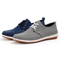 Men Canvas Breathable Pure Color Flat Lace Up Casual Oxford Shoes