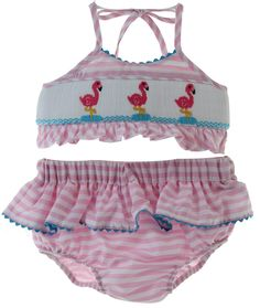 Hiccups Childrens Boutique - Girls Pink Smocked Gingham Two Piece Swimsuit with Flamingos | Anavini, $46.00 (https://www.hiccupschildrensboutique.com/girls-pink-smocked-gingham-two-piece-swimsuit-with-flamingos-anavini/)