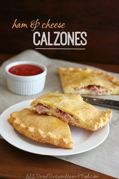 Ham & Cheese Calzones - filling wrapped in a buttery almond flour crust - link for marinara sauce for dipping included in post - 7g net carbs per serving Low Carb and Gluten-Free