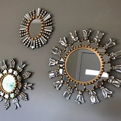 Large Decorative Round wall Mirror Cuzco style - Gold Sunburst Wood Mirror covered with Gold leaf - Vanity Peruvian Wall Mirrors Wall Mirrors Set, Small Mirrors, Wood Mirror, Round Wall Mirror, Mirror Set, Round Mirrors, Mirror Wall Decorations, Decorative Mirrors, Framed Wall