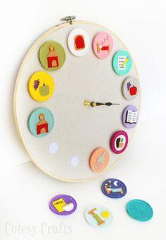Kids Activity Clock   - 30 Cool & Unusual DIY Clocks for a Great Time - Big DIY Ideas