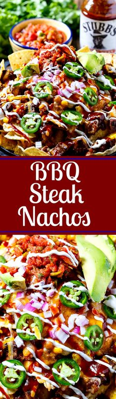 BBQ Steak Nachos with bite-sized pieces of grilled steak, corn, pinto beans, salsa, and more!