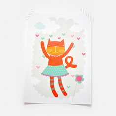 So Fofo - Art Print- Happy Cat, $24.00 (http://www.sofofo.com.au/art-print-happy-cat/)